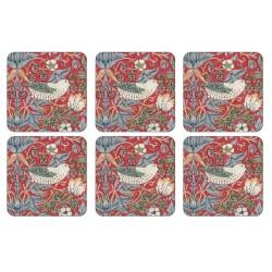 Pimpernel Strawberry Thief Red Coaster William Morris design