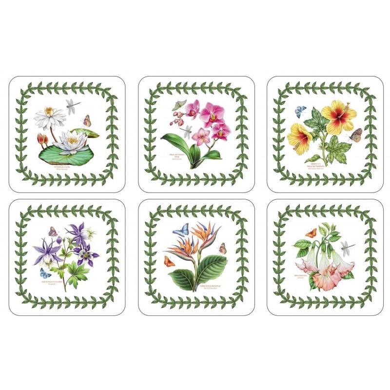 Pimpernel Exotic Botanic Garden drinks coaster set of 6 different floral images