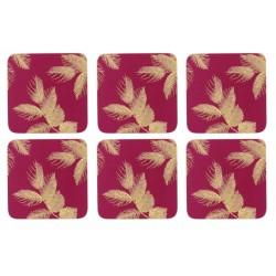 Pimpernel Sara Miller Etched Leaves Pink Coaster