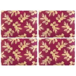 Pimpernel Sara Miller Etched Leaves Pink Tablemats