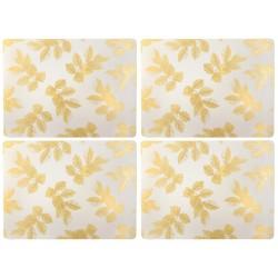 Pimpernel Sara Miller Etched Leaves Light Grey Tablemats