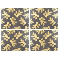 Pimpernel Sara Miller Etched Leaves Dark Grey Tablemats