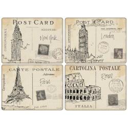 Pimpernel Postcard Sketches UK Large Tablemats