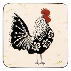 Ulster Weavers Roosters Coaster monochrome