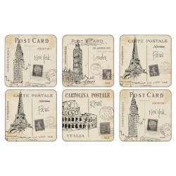 Pimpernel Postcard Sketches Drinks Coaster Set