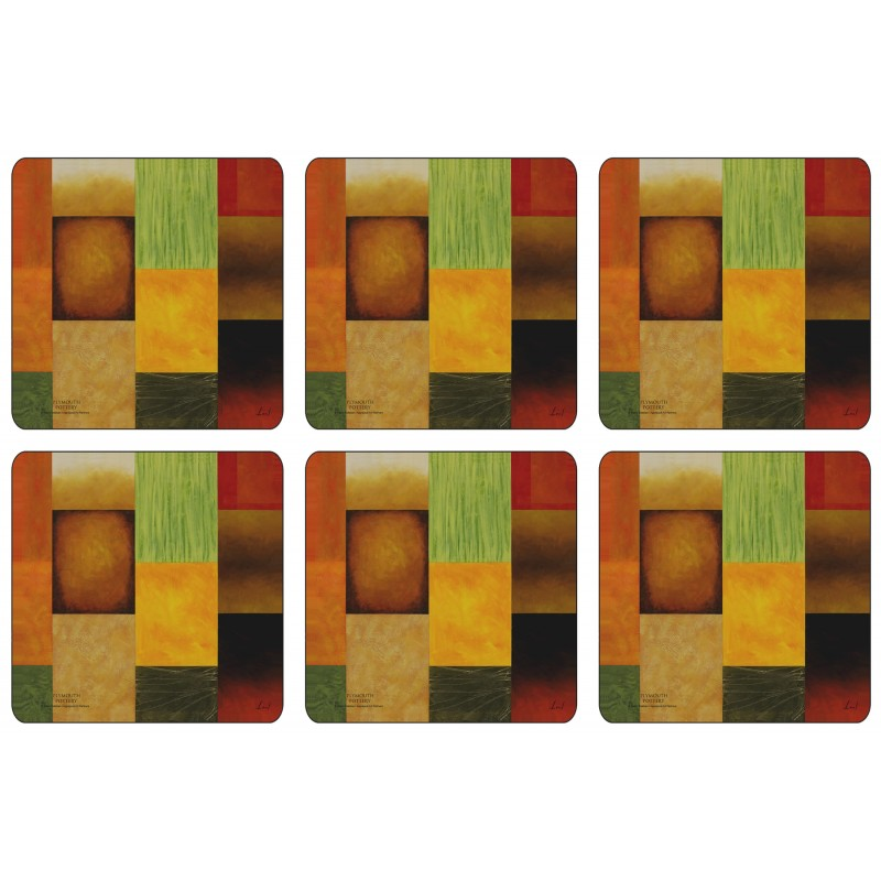 Plymouth Pottery Majestic Square Drinks Coaster Set