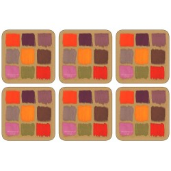Plymouth Pottery Harlequin Drinks Coaster Set of 6