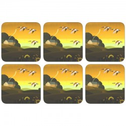 Plymouth Pottery Summer Gold Coaster Set of 6