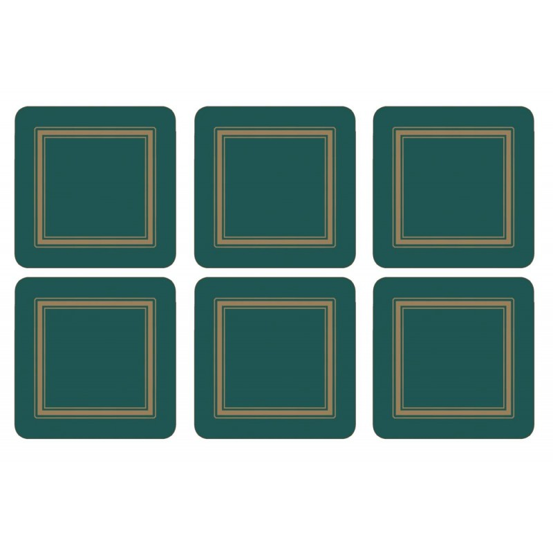 Set of 6 Pimpernel Classic Emerald Green drinks coasters