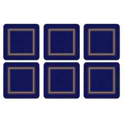Set of 6 Pimpernel Classic Midnight Blue drinks coasters