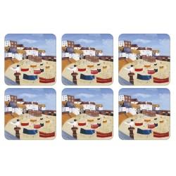 Pimpernel St Ives Windbreak nautical British drinks coaster set
