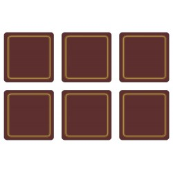 Plymouth Pottery Regal Claret drinks coaster, melamine set of 6