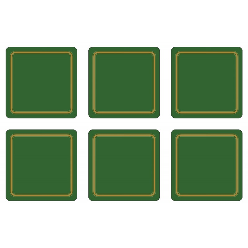 Plymouth Pottery Regal Forest Green drinks coaster, melamine set of 6