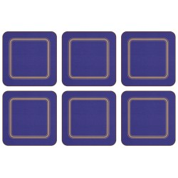 Plymouth Pottery Melamine Regal Blue set of 6 drinks coasters