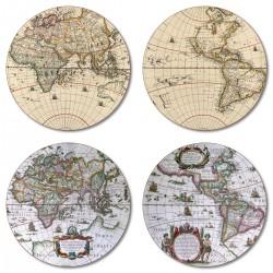 Antique maps placemats round set of 4 melamine assorted designs