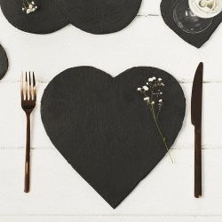 Table display of Just Slate Heart Shaped Tablemats