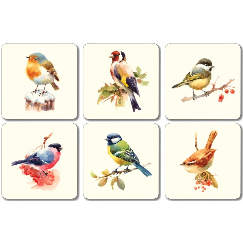 Garden Birds Mixed Square coasters set of 6