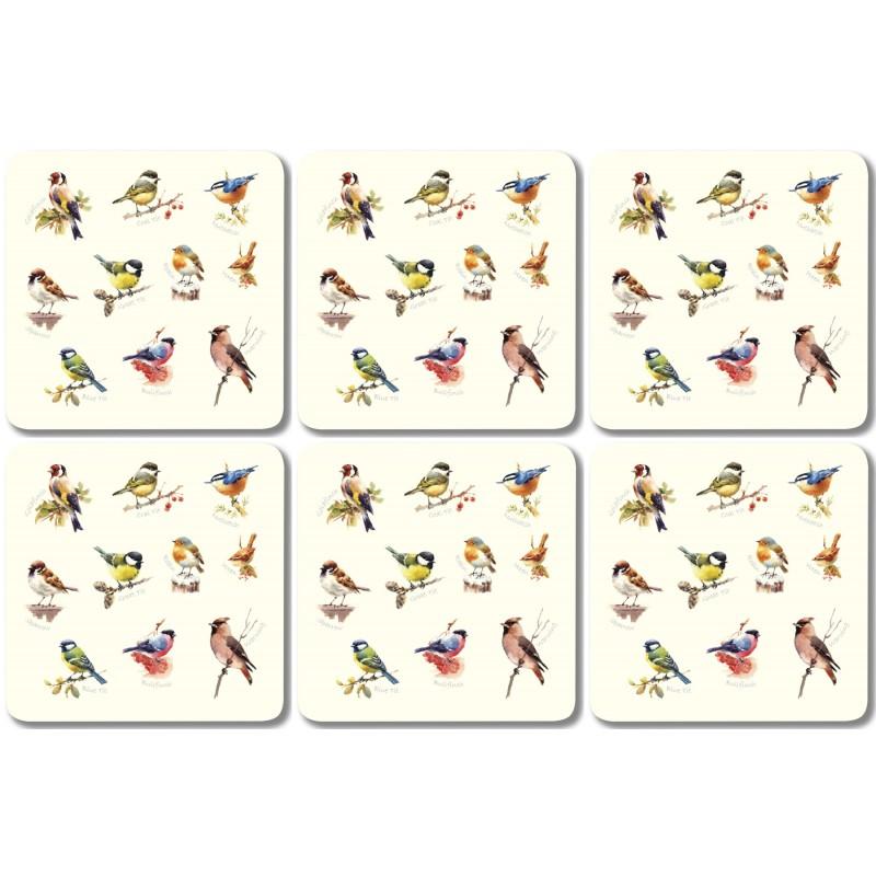 Garden Birds Single Set of 6 Square melamine drinks coasters