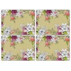 Pimpernel Floral Sketch Set of 4 Large Placemats