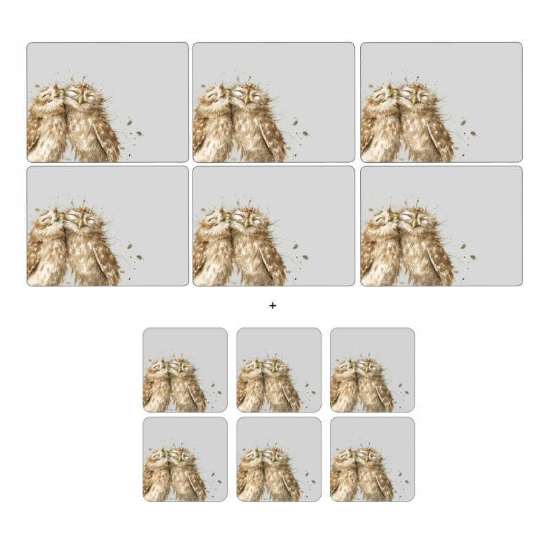 6 Owl placemats and 6 Owl coasters by Wrendale