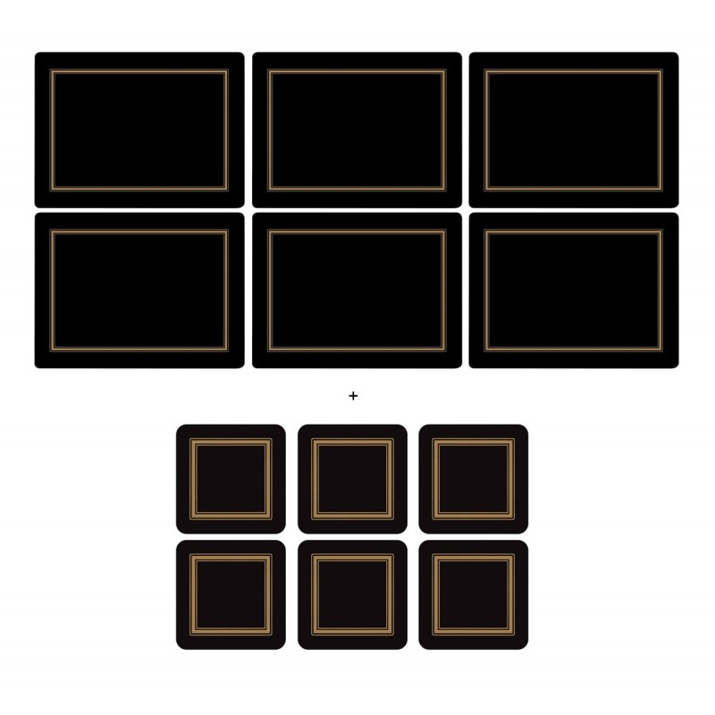 Pimpernel Classic Black 6 tablemats and 6 coasters pack