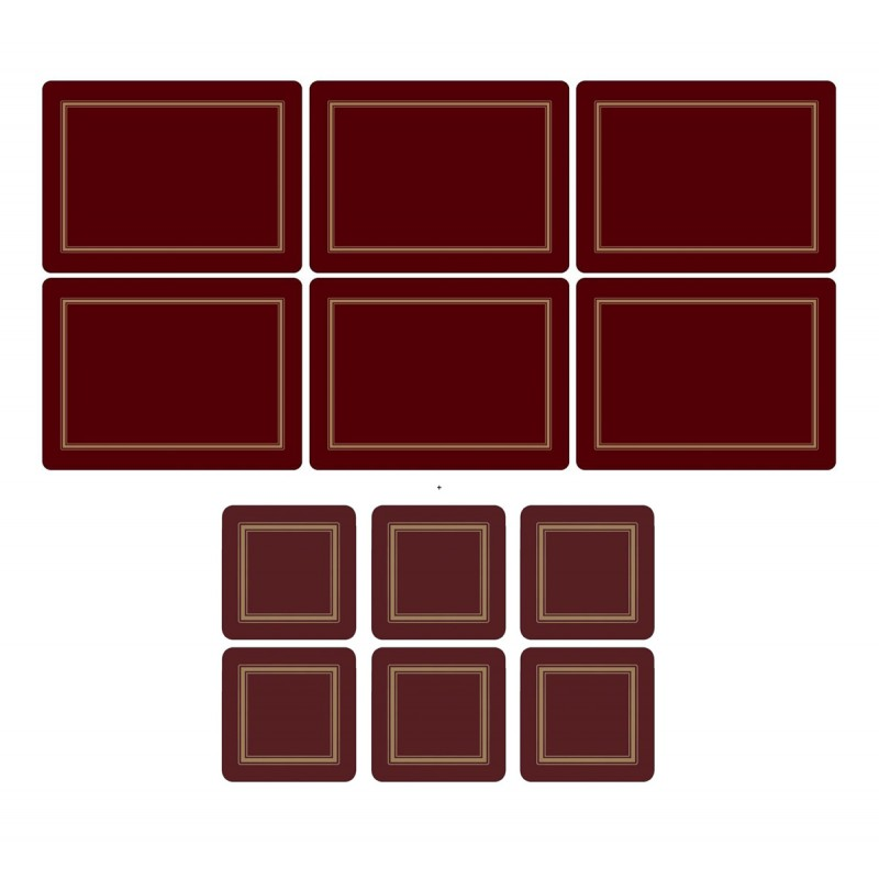 Pimpernel Classic Burgundy 6 tablemats and 6 coasters pack