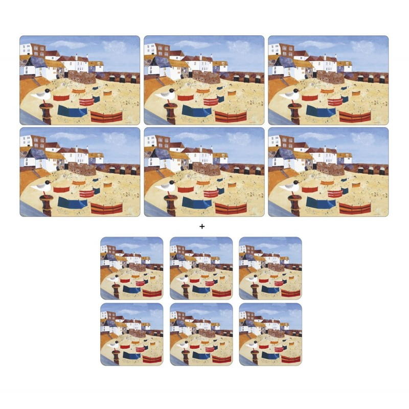 Nautical theme Pimpernel St Ives Windbreak 6 tablemats and 6 coasters