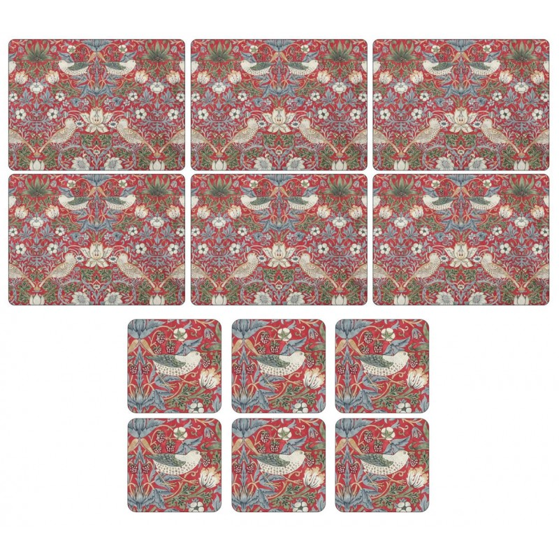 Pimpernel Strawberry Thief Red 6 tablemats and 6 coasters