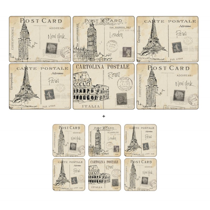 Pimpernel Postcard Sketches 6 table mats and 6 coasters