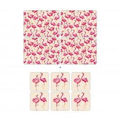 Pack 4 Sara Miller Flamingo placemats and 6 Flamingo coasters
