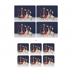 Pack 4 Sara Miller Geese placemats and 6 Geese coasters