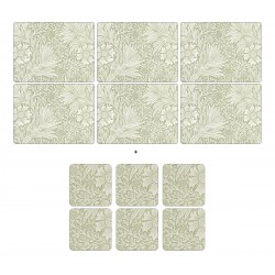 Morris and Co Marigold Green 6 table mats and 6 coasters