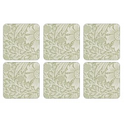 Morris and Co Marigold Green 6 Pimpernel drinks coasters