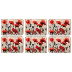 Set of Plymouth Pottery Red Poppies floral Placemats