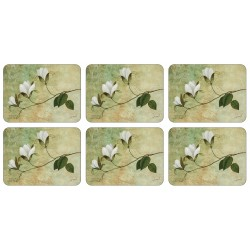 Set of six Placemats by Plymouth Pottery Ivory Blossom floral pattern