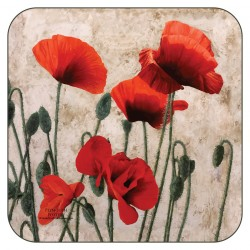 Plymouth Pottery Red Poppies Coasters
