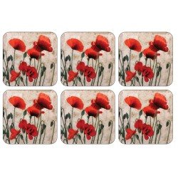 Plymouth Pottery Red Poppies drinks coaster set