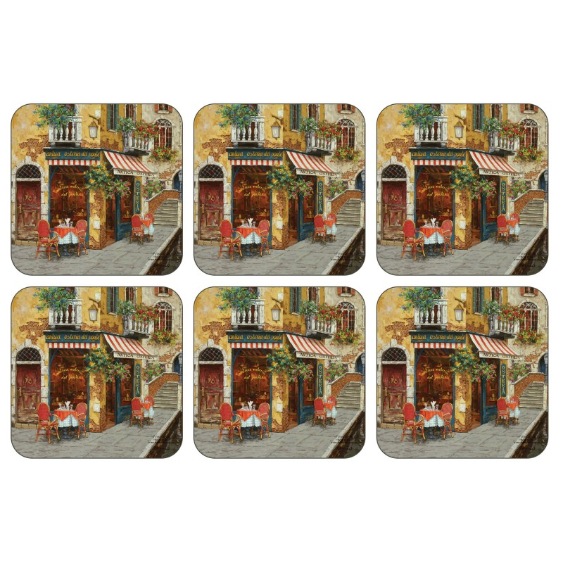Plymouth Pottery Cafe Scene drinks Coaster set of six