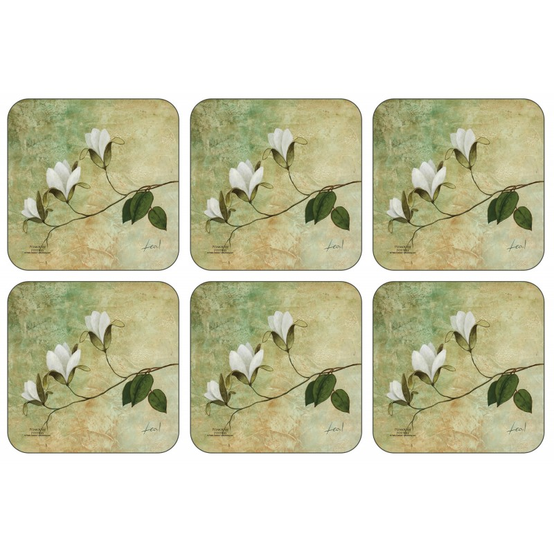 Plymouth Pottery Ivory Blossom set of six drinks Coasters