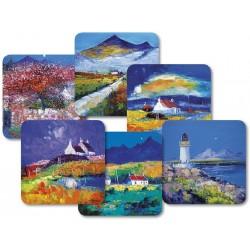 JoLoMo set of 6 square Scottish Islands tablemats - assorted designs