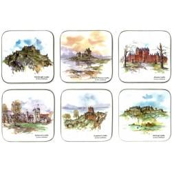Castle Melamine Scottish Castles Coasters set of 6