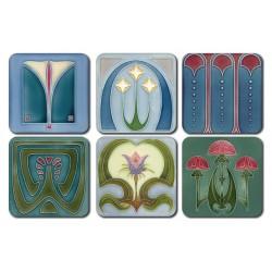 Castle Melamine Art Nouveau Tiles Square coasters set of 6