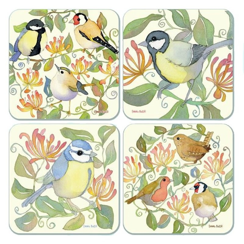 emma ball garden birds assorted coasters
